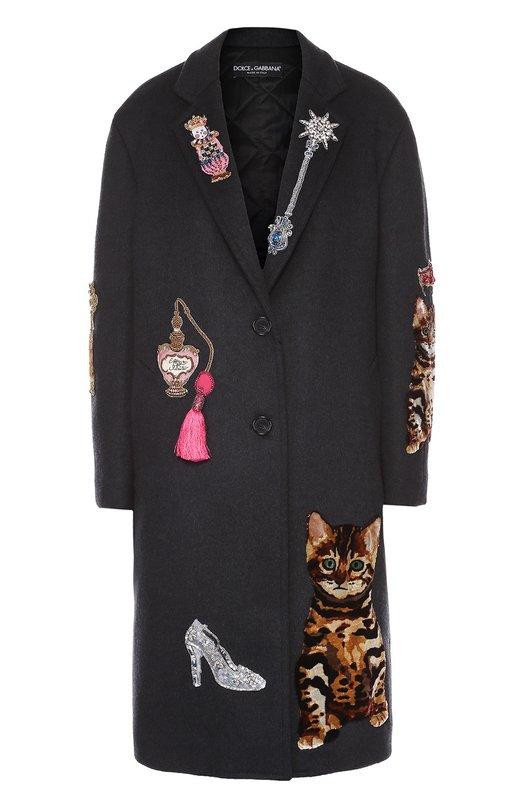 Пальто прямого кроя с контрастной декоративной отделкой Dolce & Gabbana 0102/F0Q69Z/FU2VL