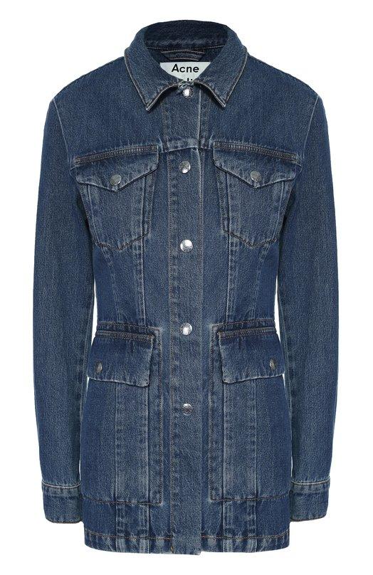 Удлиненная джинсовая куртка с накладными карманами Acne Studios 126163