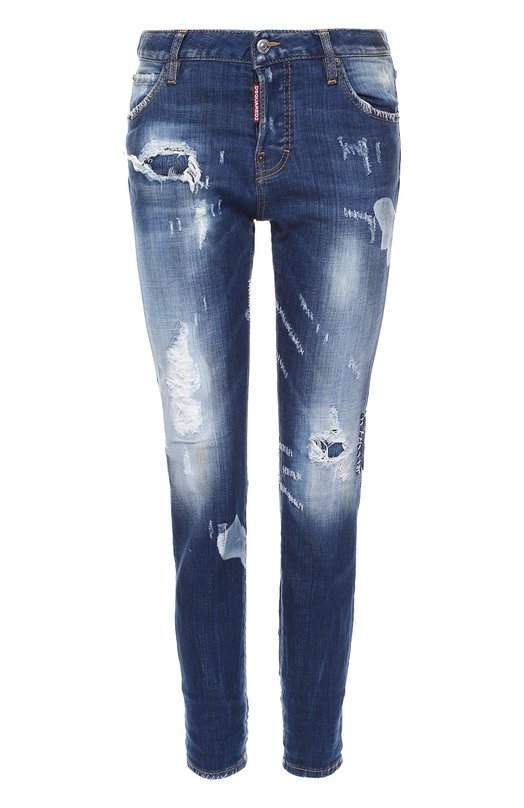 Укороченные облегающие джинсы с потертостями Dsquared2Джинсы<br><br><br>Российский размер RU: 44<br>Пол: Женский<br>Возраст: Взрослый<br>Размер производителя vendor: 42<br>Материал: Хлопок: 98%; Эластан: 2%;<br>Цвет: Синий
