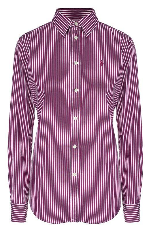 Приталенная хлопковая блуза в полоску Polo Ralph Lauren V33/IJ070/BJ071