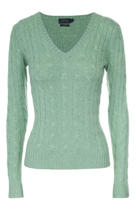 Кашемировый приталенный пуловер фактурной вязки Polo Ralph LaurenСвитеры<br>В коллекцию сезона осень-зима 2016 года вошел облегающий зеленый пуловер. Ральф Лорен выбрал для создания изделия, украшенного арановым узором, гипоаллергенную мягкую кашемировую пряжу. Широкий пояс, манжеты длинных рукавов и V-образный вырез выполнены в технике английской резинки.<br><br>Российский размер RU: 52<br>Пол: Женский<br>Возраст: Взрослый<br>Размер производителя vendor: XL<br>Материал: Кашемир: 100%;<br>Цвет: Зеленый