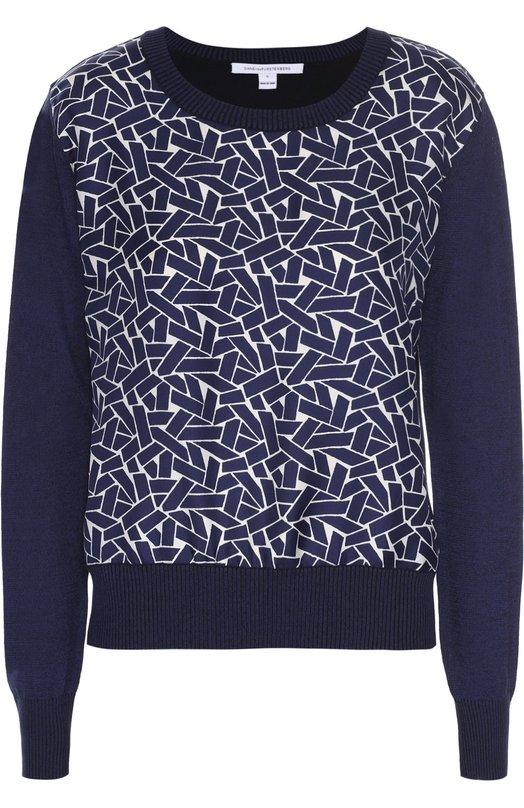Пуловер свободного кроя с шелковой вставкой Diane Von Furstenberg S993303L16