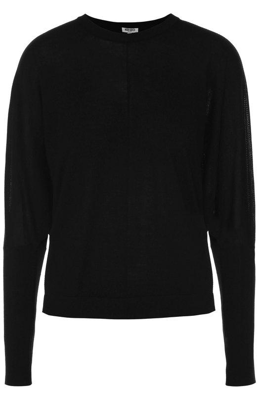 Шерстяной пуловер свободного кроя с круглым вырезом KenzoСвитеры<br><br><br>Российский размер RU: 42<br>Пол: Женский<br>Возраст: Взрослый<br>Размер производителя vendor: S<br>Материал: Шерсть: 100%;<br>Цвет: Черный
