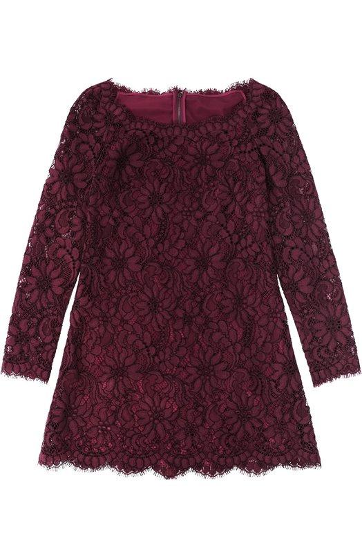 Кружевное мини-платье с длинным рукавом Dolce &amp; GabbanaПлатья<br><br><br>Российский размер RU: 42<br>Пол: Женский<br>Возраст: Взрослый<br>Размер производителя vendor: 40<br>Материал: Подкладка-шелк: 86%; Хлопок: 80%; Подкладка-хлопок: 8%; Подкладка-эластан: 4%; Подкладка-полиамид: 2%; Вискоза: 10%; Полиамид: 10%;<br>Цвет: Фиолетовый