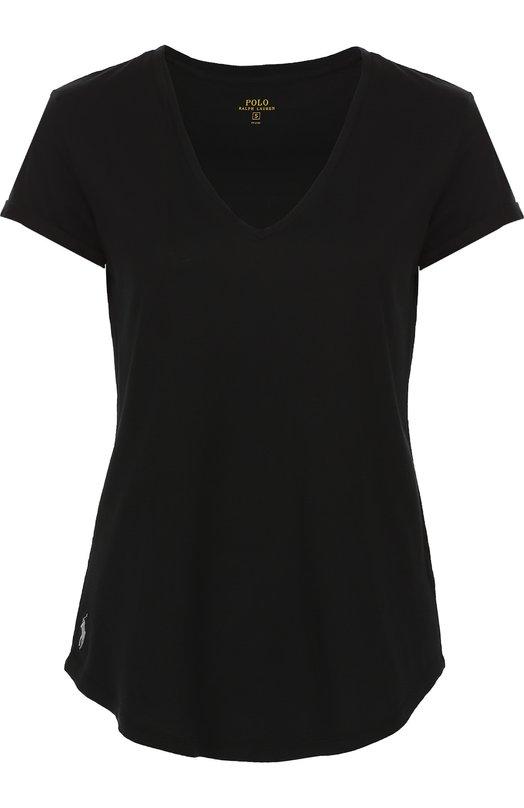 Хлопковая футболка свободного кроя с V-образным вырезом Polo Ralph Lauren V38/IJ001/BJ001