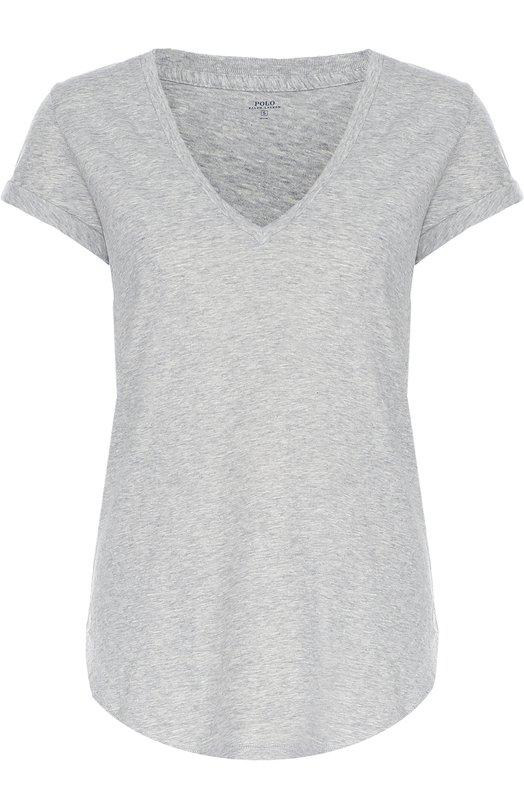 Хлопковая футболка свободного кроя с V-образным вырезом Polo Ralph LaurenФутболки<br><br><br>Российский размер RU: 40<br>Пол: Женский<br>Возраст: Взрослый<br>Размер производителя vendor: XS<br>Материал: Хлопок: 100%;<br>Цвет: Серый