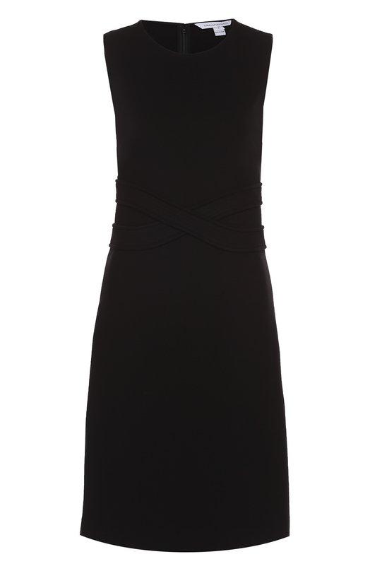 Приталенное платье без рукавов с фактурной отделкой Diane Von FurstenbergПлатья<br>В коллекцию сезона осень-зима 2016 года вошло черное платье Evita без рукавов. Мастера марки сшили модель из эластичного текстиля на основе нежной вискозы. Две перекрещенных широких ленты из этого же материала подчеркивают талию. Изделие с круглым вырезом застегивается на потайную молнию сзади.<br><br>Российский размер RU: 44<br>Пол: Женский<br>Возраст: Взрослый<br>Размер производителя vendor: 6<br>Материал: Вискоза: 71%; Эластан: 5%; Полиамид: 24%;<br>Цвет: Черный