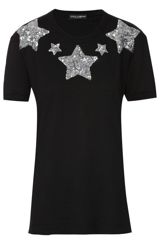 Хлопковая футболка прямого кроя с пайетками Dolce &amp; GabbanaФутболки<br>Футболка со звездами, вышитыми вручную серебристыми пайетками, сшита из плотного фактурного хлопка. Доменико Дольче и Стефано Габбана включили черную модель с круглым вырезом в осенне-зимнюю коллекцию 2016 года<br><br>Российский размер RU: 44<br>Пол: Женский<br>Возраст: Взрослый<br>Размер производителя vendor: 42<br>Материал: Отделка-полиэстер: 77%; Отделка-полиамид: 23%; Хлопок: 100%;<br>Цвет: Черный