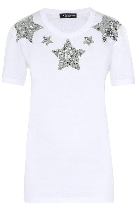 Хлопковая футболка прямого кроя с пайетками Dolce & Gabbana 0102/F8H50Z/G7JEU
