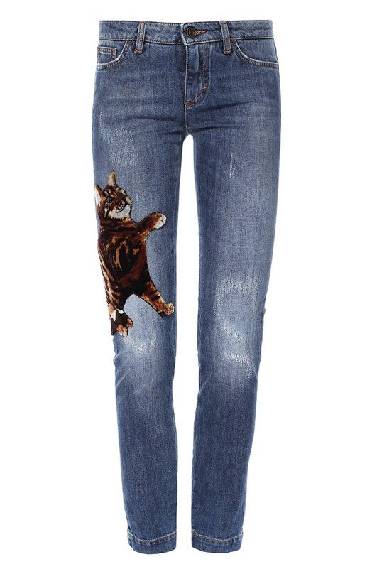 Укороченные джинсы-скинни с отделкой Dolce & Gabbana 0102/FTAH7Z/G8T35