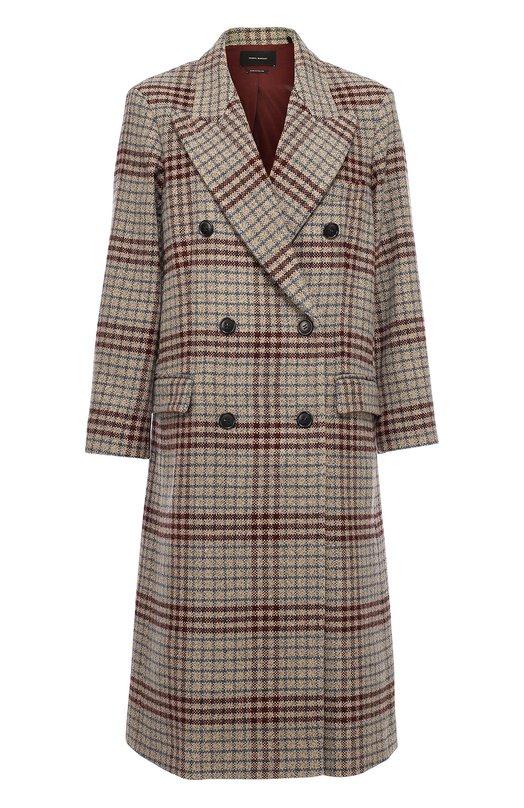 Удлиненное двубортное пальто с широкими лацканами Isabel Marant 16H011I/FLINT