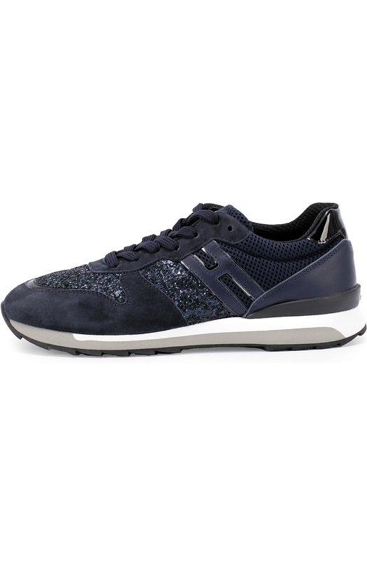 Комбинированные кроссовки с глиттером Hogan HXW2610Q901EJC