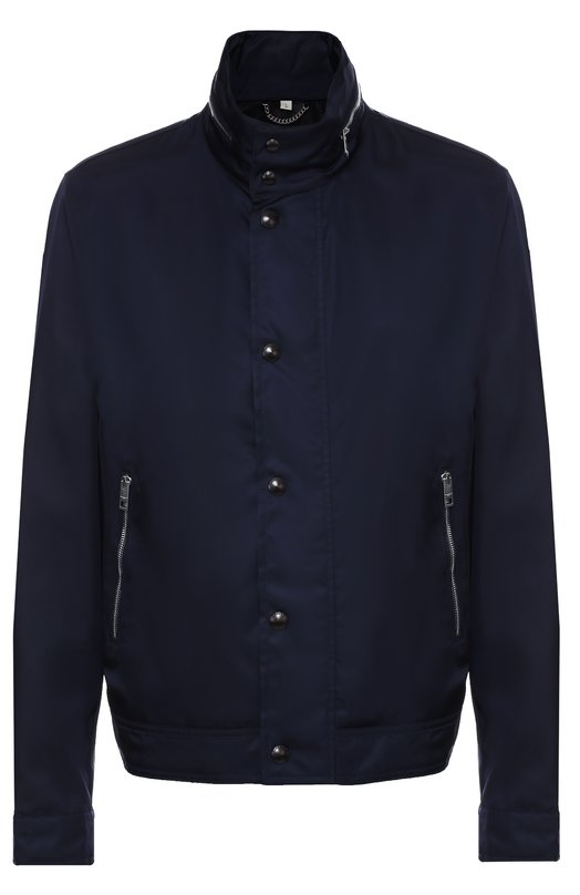 Куртка на молнии с потайным капюшоном BurberryКуртки<br>Темно-синяя куртка с капюшоном, который можно убрать в воротник-стойку,вошла в коллекцию сезона осень-зима 2016 года. Модель сшита из прочной ткани с матовым блеском. Изделие с боковыми карманами застегивается на молнию, скрытую под планкой с кнопками. Ширину пояса регулируют боковые ремешки.<br><br>Российский размер RU: 48<br>Пол: Мужской<br>Возраст: Взрослый<br>Размер производителя vendor: M<br>Материал: Полиамид: 100%; Подкладка-вискоза: 100%;<br>Цвет: Темно-синий