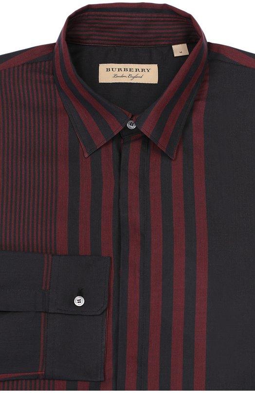 Хлопковая сорочка с воротником кент BurberryРубашки<br><br><br>Российский размер RU: 52<br>Пол: Мужской<br>Возраст: Взрослый<br>Размер производителя vendor: XL<br>Материал: Хлопок: 100%;<br>Цвет: Бордовый