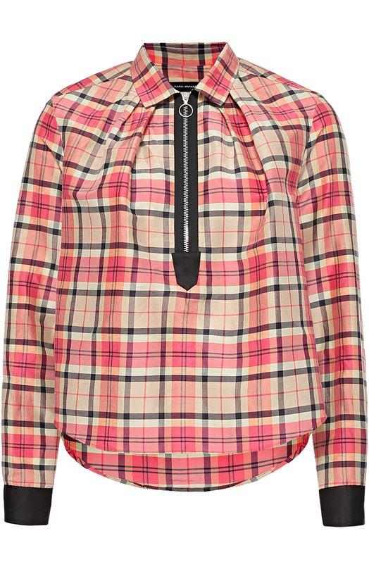 Укороченная блуза в клетку Isabel MarantБлузы<br><br><br>Российский размер RU: 44<br>Пол: Женский<br>Возраст: Взрослый<br>Размер производителя vendor: 38<br>Материал: Рами: 81%; Шелк: 19%;<br>Цвет: Разноцветный