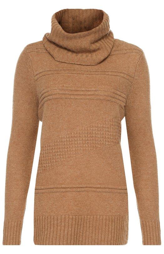 Шерстяной свитер фактурной вязки с высоким воротником Diane Von FurstenbergСвитеры<br><br><br>Российский размер RU: 38<br>Пол: Женский<br>Возраст: Взрослый<br>Размер производителя vendor: P<br>Материал: Шерсть: 70%; Кашемир: 30%;<br>Цвет: Коричневый