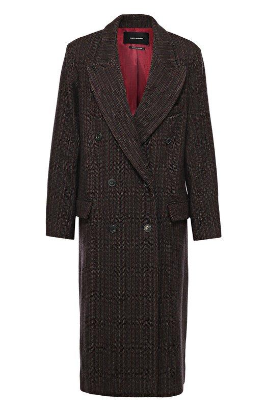 Удлиненное двубортное пальто с широкими лацканами Isabel MarantПальто и плащи<br>Изабель Маран включила длинное бордовое пальто с широкими лацканами в коллекцию сезона осень-зима 2016 года. Двубортная модель с боковыми карманами сшита из плотного фактурного твида. Наши стилисты рекомендуют сочетать изделие с глубоким вырезом вместе с водолазкой или длинным широким шарфом.<br><br>Российский размер RU: 44<br>Пол: Женский<br>Возраст: Взрослый<br>Размер производителя vendor: 38<br>Материал: Полиэстер: 80%; Подкладка-вискоза: 55%; Подкладка-ацетат: 45%; Вискоза: 20%; Шерсть: 100%;<br>Цвет: Бордовый