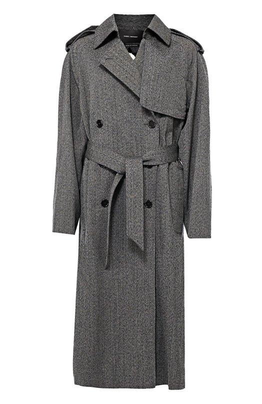 Двубортное пальто с поясом и погонами Isabel MarantПальто и плащи<br><br><br>Российский размер RU: 40<br>Пол: Женский<br>Возраст: Взрослый<br>Размер производителя vendor: 34<br>Материал: Шерсть: 100%; Подкладка-купра: 100%;<br>Цвет: Серый