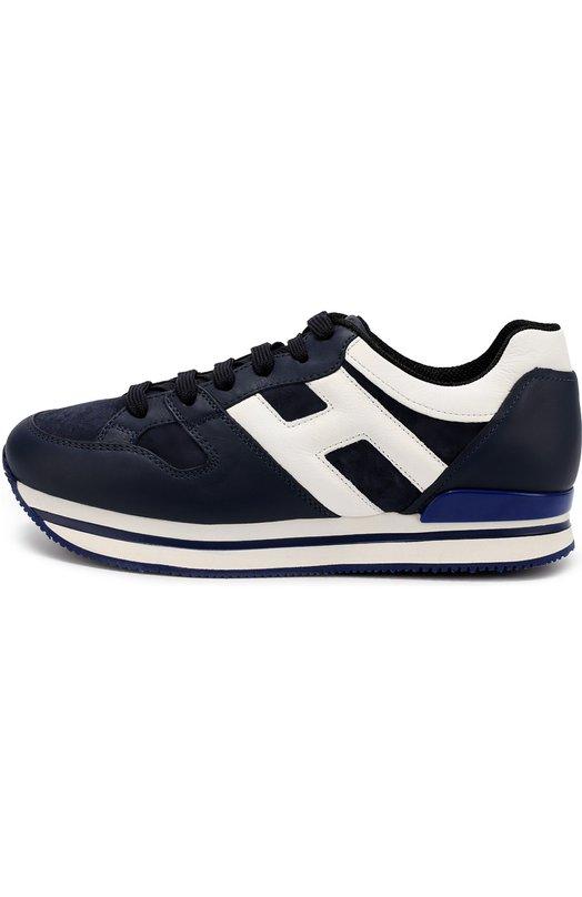 Кожаные кроссовки с замшевыми вставками HoganКеды<br>Для производства темно-синих кроссовок H222 использовано сочетание матовой гладкой кожи и прочной замши. Модель на многослойной подошве из ультралегкой резины вошла в осенне-зимнюю коллекцию 2016 года. Обувь украшена боковыми вставками в виде буквы «Н» и полосами белого цвета.<br><br>Российский размер RU: 39<br>Пол: Женский<br>Возраст: Взрослый<br>Размер производителя vendor: 39<br>Материал: Кожа натуральная: 100%; Стелька-кожа: 100%; Подошва-резина: 100%; Отделка замша натуральная: 100%;<br>Цвет: Темно-синий