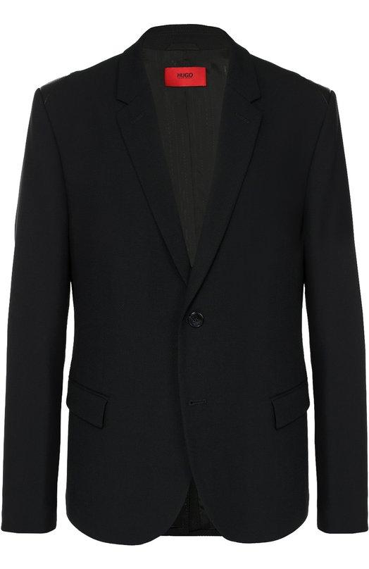 Шерстяной однобортный пиджак HUGOПиджаки<br><br><br>Российский размер RU: 48<br>Пол: Мужской<br>Возраст: Взрослый<br>Размер производителя vendor: 46<br>Материал: Полиэстер: 55%; Шерсть: 45%;<br>Цвет: Черный