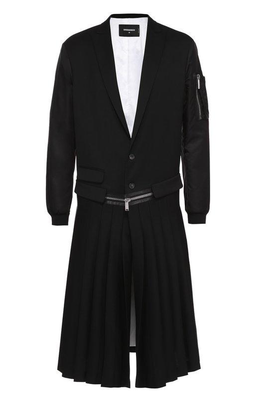 Шерстяной однобортный пиджак с декоративным килтом Dsquared2 S71AA0238/S42916