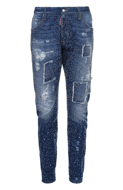 Зауженные джинсы с потертостями и заклепками Dsquared2Джинсы<br>Дин и Дэн Кейтены включили зауженные джинсы с заплатками в осенне-зимнюю коллекцию 2016 года. Для создания модели использован потертый хлопок. Металлические заклепки формируют повторяющийся узор. Советуем сочетать с джинсовой курткой, белой рубашкой, а также с дерби и пиджаком с декоративным килтом.<br><br>Российский размер RU: 48<br>Пол: Мужской<br>Возраст: Взрослый<br>Размер производителя vendor: 46<br>Материал: Хлопок: 100%;<br>Цвет: Синий