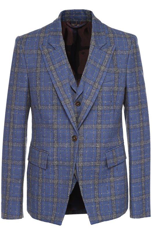 Купить Однобортный пиджак из смеси шерсти и хлопка Vivienne Westwood, S25BN0330/S45332, Италия, Синий, Хлопок: 60%; Шерсть: 40%;
