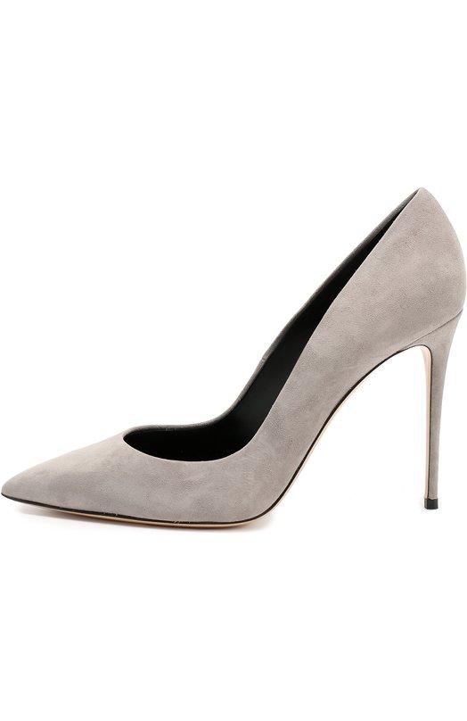 Замшевые туфли на шпильке CasadeiТуфли<br>Чезаре Касадей включил туфли с зауженным мысом в осенне-зимнюю коллекцию 2016 года. Мастера марки сшили обувь из мягкой бархатистой замши светло-серого цвета. Этим же материалом обтянут высокий тонкий каблук.<br><br>Российский размер RU: 39<br>Пол: Женский<br>Возраст: Взрослый<br>Размер производителя vendor: 39<br>Материал: Стелька-кожа: 100%; Подошва-кожа: 100%; Замша натуральная: 100%;<br>Цвет: Светло-серый