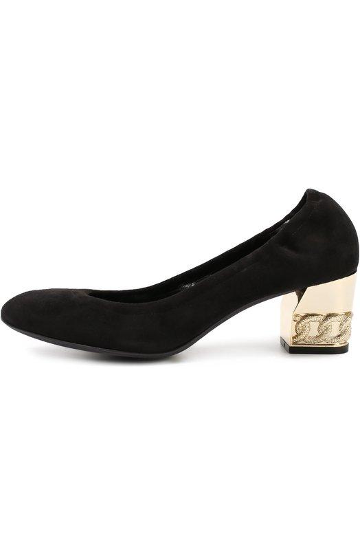 Замшевые туфли на устойчивом каблуке с декором CasadeiТуфли<br><br><br>Российский размер RU: 38<br>Пол: Женский<br>Возраст: Взрослый<br>Размер производителя vendor: 38-5<br>Материал: Замша натуральная: 100%; Стелька-кожа: 100%; Подошва-кожа: 100%;<br>Цвет: Черный