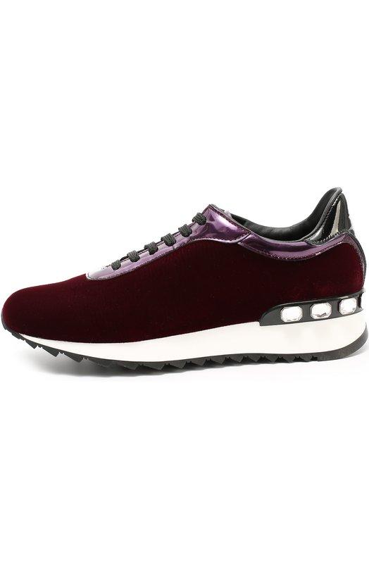 Комбинированные кроссовки с кристаллами Casadei 2X859