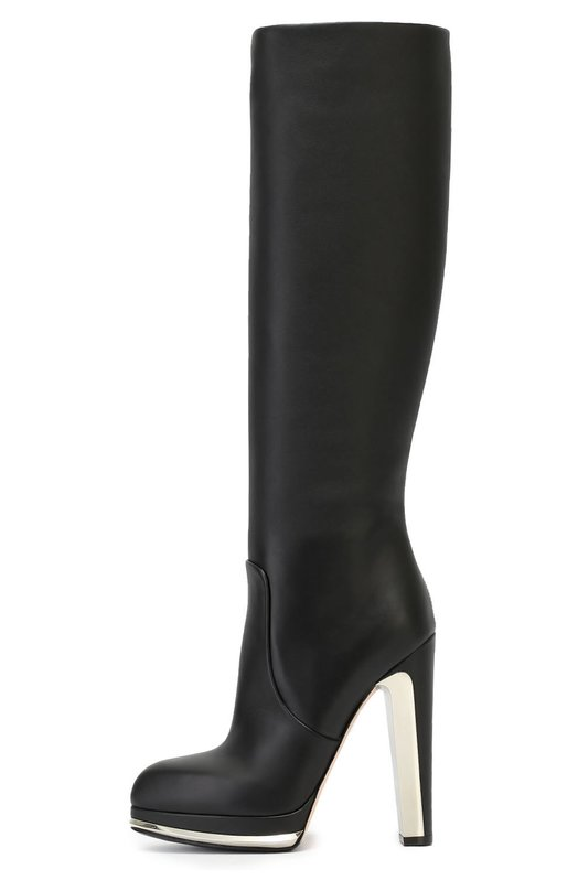Кожаные сапоги на декорированном каблуке Alexander McQueen 446892/WHNP0