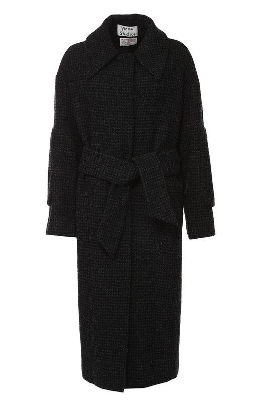 Пальто в клетку с широким поясом и отложным воротником Acne Studios 12N164