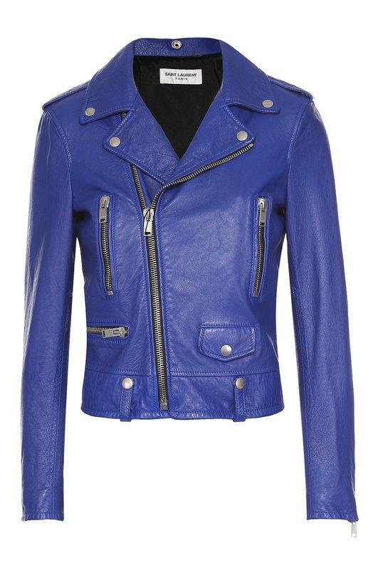 Укороченная кожаная куртка с косой молнией Saint Laurent 397287/Y5QQ2