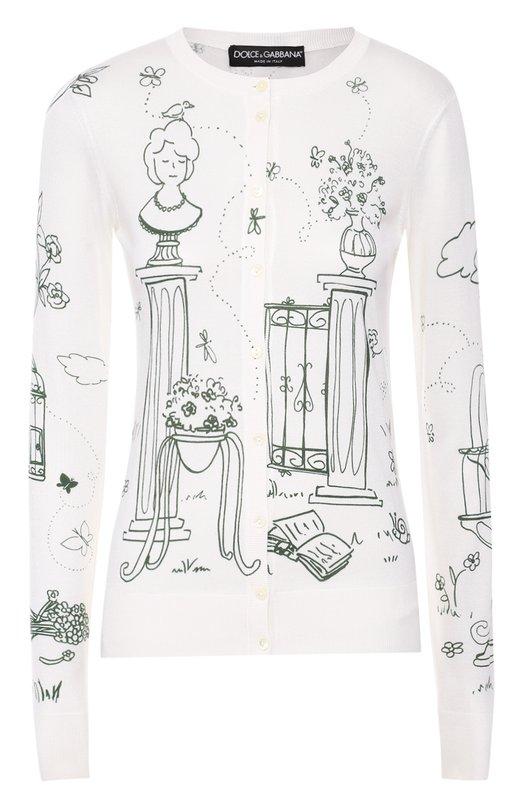 Шелковый кардиган на пуговицах с контрастным принтом Dolce &amp; GabbanaКардиганы<br>Белый кардиган с принтом Victorian Garden связан из тонкой шелковой пряжи. На создание этого мотива Доменико Дольче и Стефано Габбана вдохновили сады викторианской эпохи. Модель с длинными рукавами и круглой горловиной вошла в коллекцию сезона осень-зима 2016 года.<br><br>Российский размер RU: 46<br>Пол: Женский<br>Возраст: Взрослый<br>Размер производителя vendor: 44<br>Материал: Шелк: 100%;<br>Цвет: Белый
