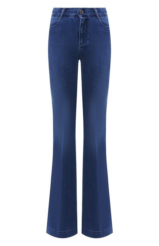 Расклешенные джинсы с отворотами Stella McCartneyДжинсы<br>Расклешенные синие джинсы с классической посадкой на талии вошли в коллекцию сезона осень-зима 2016 года. Стелла Маккартни выбрала для пошива модели эластичный органический хлопок. Он материал производится без воздействия вредных химикатов и окрашен безопасными красителями.<br><br>Российский размер RU: 54<br>Пол: Женский<br>Возраст: Взрослый<br>Размер производителя vendor: 32<br>Материал: Хлопок: 92%; Полиэстер: 6%; Эластан: 2%;<br>Цвет: Синий