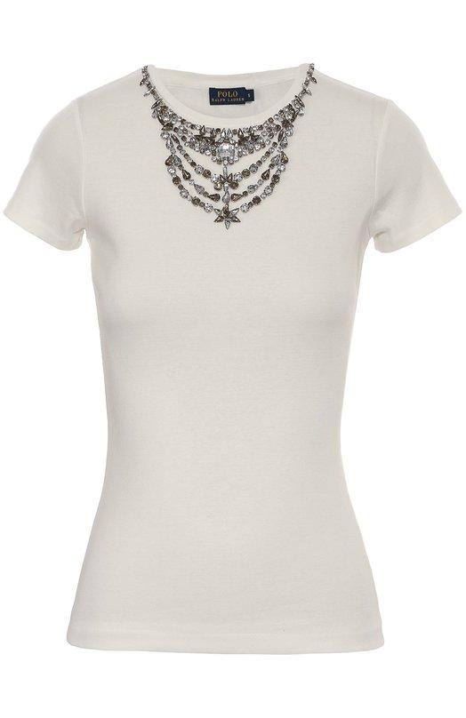 Приталенная футболка с декоративной отделкой Polo Ralph LaurenФутболки<br><br><br>Российский размер RU: 40<br>Пол: Женский<br>Возраст: Взрослый<br>Размер производителя vendor: XS<br>Материал: Хлопок: 100%;<br>Цвет: Кремовый