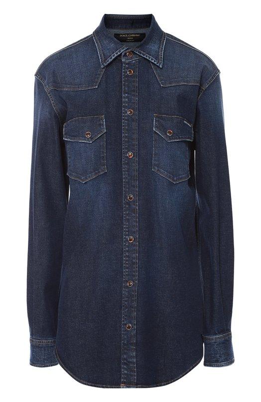 Джинсовая блуза прямого кроя с накладными карманами Dolce &amp; GabbanaБлузы<br>Синяя джинсовая рубашка с длинными рукавами, отложным воротником и двумя нагрудными карманами вошла в осенне-зимнюю коллекцию 2016 года. Доменико Дольче и Стефано Габбана выбрали для создания модели эластичный хлопок с потертостями. Изделие прямого кроя застегивается на кнопки.<br><br>Российский размер RU: 48<br>Пол: Женский<br>Возраст: Взрослый<br>Размер производителя vendor: 46<br>Материал: Хлопок: 98%; Эластан: 2%;<br>Цвет: Синий