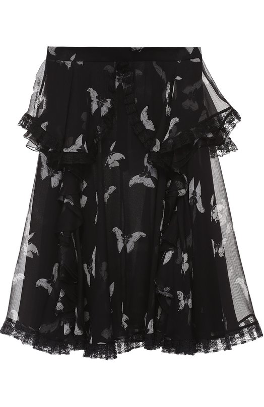 Купить Шелковая полупрозрачная юбка с принтом в виде бабочек Alexander McQueen, 442653/QHD01, Италия, Черно-белый, Отделка-полиамид: 55%; Отделка-вискоза: 45%; Шелк: 100%; Подкладка-шелк: 100%;