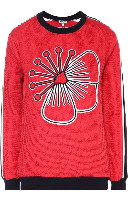 Свитшот прямого кроя с контрастной отделкой KenzoСвитеры<br>Красный свитшот из осенне-зимней коллекции бренда, основанного Кензо Такада, сшит из плотного, фактурного материала. Модель украшена вышитым цветком, придуманным японским художником Кейичи Танаами. Лампасы на длинных рукавах, пояс, манжеты и горловина выполнены из черного трикотажа.<br><br>Российский размер RU: 40<br>Пол: Женский<br>Возраст: Взрослый<br>Размер производителя vendor: XS<br>Материал: Отделка-триацетат: 82%; Отделка-полиэстер: 18%; Полиэстер: 100%;<br>Цвет: Красный