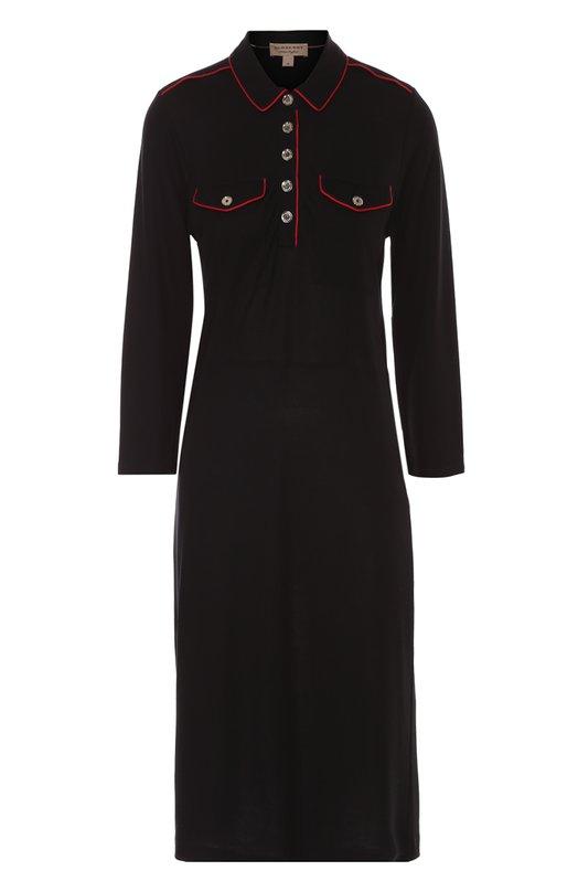 Платье-рубашка прямого кроя с контрастной отделкой Burberry BritПлатья<br><br><br>Российский размер RU: 42<br>Пол: Женский<br>Возраст: Взрослый<br>Размер производителя vendor: S<br>Материал: Лиоселл: 100%;<br>Цвет: Черный