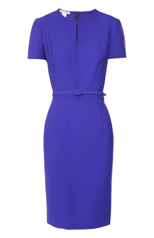 Приталенное платье с коротким рукавом и поясом Oscar de la RentaПлатья<br><br><br>Российский размер RU: 42<br>Пол: Женский<br>Возраст: Взрослый<br>Размер производителя vendor: 4<br>Материал: Шерсть: 94%; Лайкра: 5%; Полиамид: 1%;<br>Цвет: Темно-синий