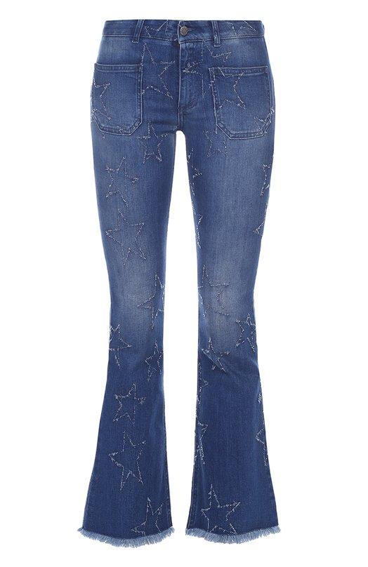 Укороченные расклешенные джинсы с бахромой Stella McCartney 405523/SHH08