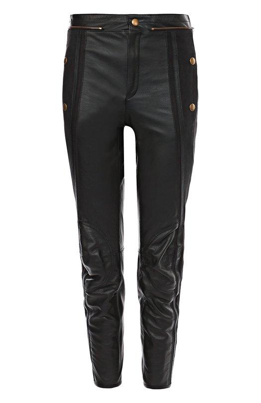 Укороченные кожаные брюки с завышенной талией и декоративной отделкой Chlo?Брюки<br><br><br>Российский размер RU: 44<br>Пол: Женский<br>Возраст: Взрослый<br>Размер производителя vendor: 38<br>Материал: Кожа натуральная: 100%; Подкладка-полиэстер: 100%;<br>Цвет: Черный