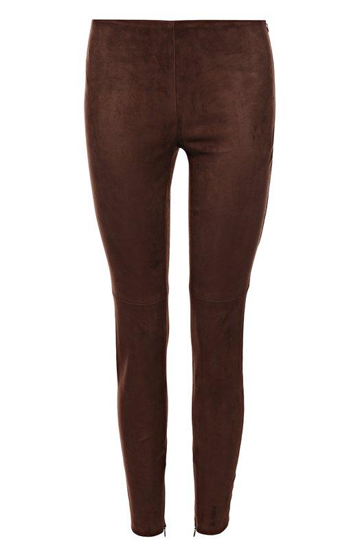 Замшевые брюки-скинни Ralph LaurenБрюки<br>Ральф Лорен выбрал для изготовления коричневых брюк прочную эластичную замшу. Облегающая модель с заниженной талией вошла в весенне-летнюю коллекцию 2017 года. Изделие застегивается на потайную боковую молнию. Советуем носить с голубым джемпером, бежевыми ботильонами и зеленой сумкой.<br><br>Российский размер RU: 44<br>Пол: Женский<br>Возраст: Взрослый<br>Размер производителя vendor: 6<br>Материал: Замша натуральная: 100%;<br>Цвет: Коричневый