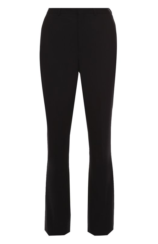 Расклешенные брюки с завышенной талией Saint LaurentБрюки<br>Слегка расклешенные брюки со стрелками вошли в осенне-зимнюю коллекцию марки, основанной Ивом Сен-Лораном. Для создания модели с завышенной линией талии использована мягкая шерстяная ткань черного цвета. Советуем носить с темной блузой, а также сумкой и босоножками в тон изделию.<br><br>Российский размер RU: 44<br>Пол: Женский<br>Возраст: Взрослый<br>Размер производителя vendor: 42<br>Материал: Шерсть: 100%;<br>Цвет: Черный