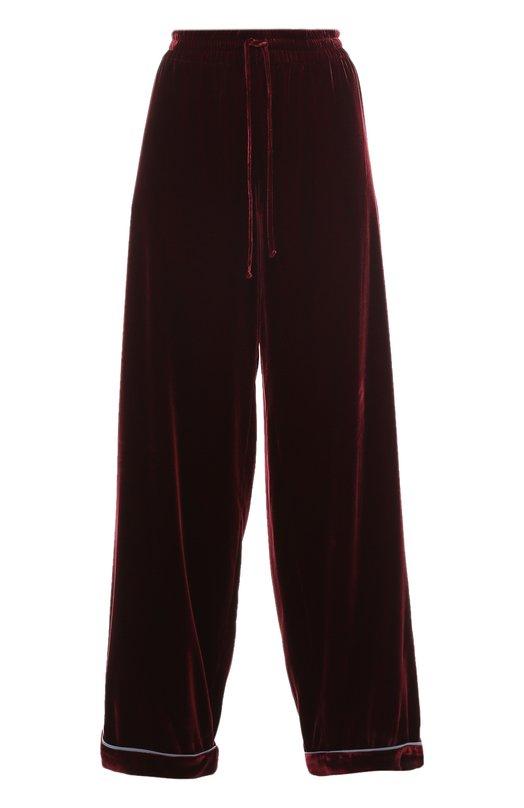 Бархатные брюки в пижамном стиле с эластичным поясом Valentino LB3RB00T/2NG