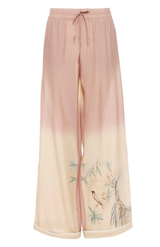 Купить Шелковые брюки в пижамном стиле с эластичным поясом Valentino, LB3RB00T/2U7, Италия, Светло-розовый, Шелк: 100%;