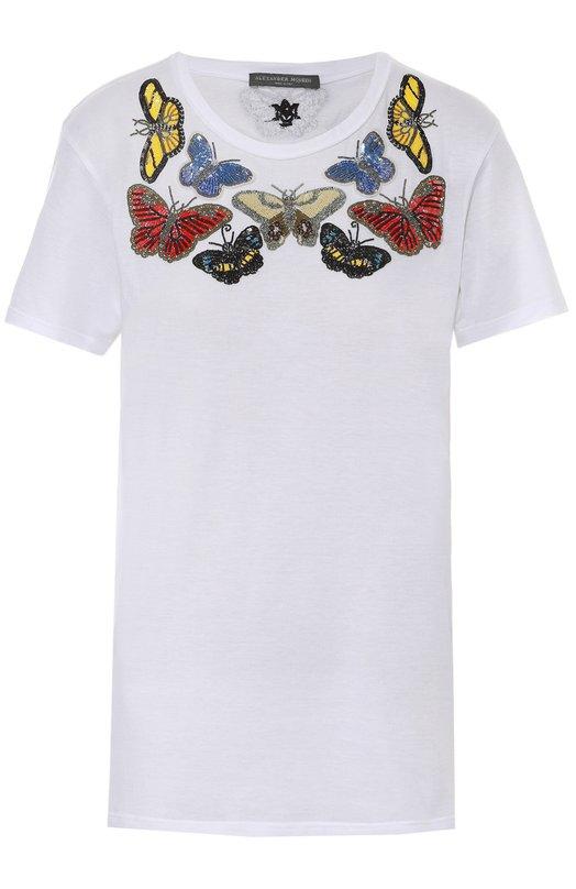 Хлопковая футболка прямого кроя с контрастной вышивкой Alexander McQueen 437640/QHZ17
