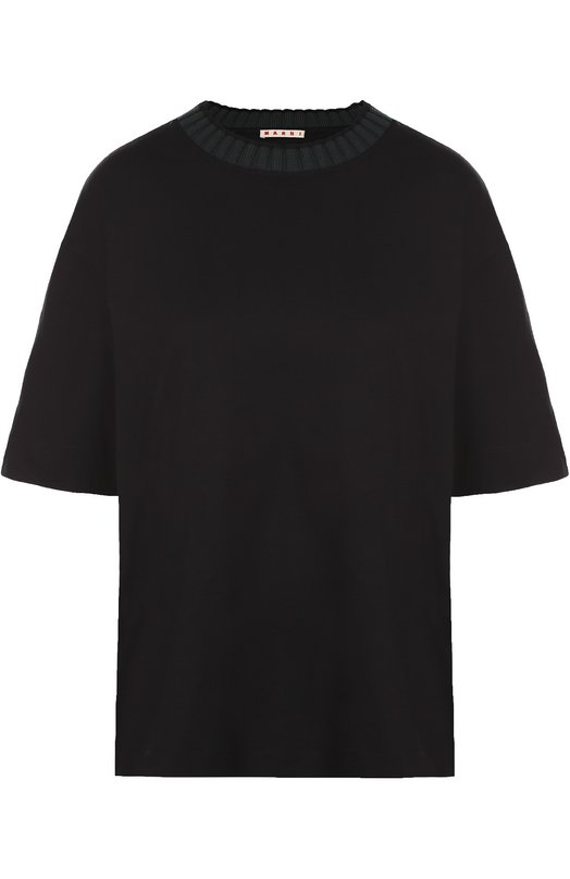 Футболка прямого кроя с вязаным воротом MarniФутболки<br>Консуэло Кастильони включила футболку с круглым вырезом и широкими короткими рукавами в коллекцию сезона осень-зима 2016 года. Для создания модели прямого кроя использован мягкий черный хлопок джерси. Горловина дополнена кантом, связанным из эластичной шерстяной пряжи темно-зеленого цвета.<br><br>Российский размер RU: 42<br>Пол: Женский<br>Возраст: Взрослый<br>Размер производителя vendor: 40<br>Материал: Хлопок: 92%; Шерсть: 8%;<br>Цвет: Черный