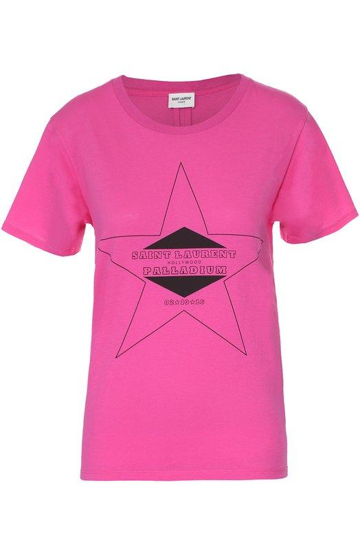 Хлопковая футболка прямого кроя с контрастным принтом Saint Laurent 443418/YB2BQ
